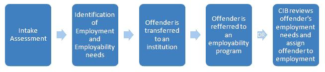 Description: Intake Assessment leads to Identification of Employment and Employability needs leads to Offender is transferred to an institution leads to Offender is referred to an employability program leads to CIB reviews offender's employment needs and assign offender to employment.