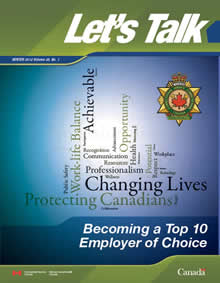 Let's Talk Cover page – Becoming a top 10 employer of choice. Winter 2012, Volume 35, No. 1
